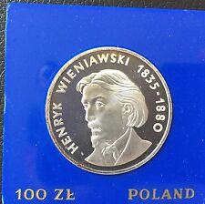 1979 Poland Silver Proof Coin Henryk Wieniawski 100 Zlotych