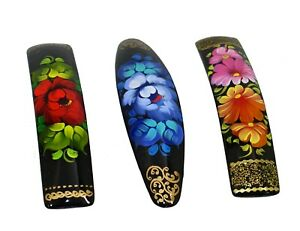 3 Russian Hand Painted Barrettes Hair Clips #0945