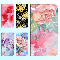 iPhone X 8 8 Plus 7 6s 6 Plus PU Leather Flip Wallet Case Flower Floral V Cover