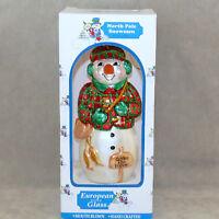 "Christmas Ornament Glass SNOWMAN POLONAISE Box GONE ICE FISHING  6.5"" USA SELLER"