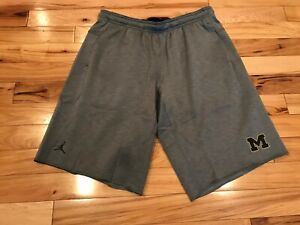 Nike Jordan Michigan Wolverines Team-Issued Fleece Shorts 868456 063 Men's XL