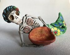 Ooak Art Figure / Day of the Dead Mermaid with Basket. Polymer Clay - New!