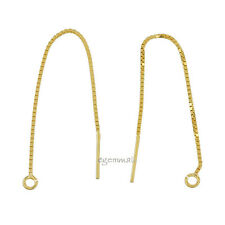 Gold Plated Sterling Silver Dangle Box Chain Ear Thread Earring Connector #99093