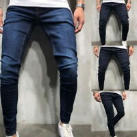 Fashion Mens Solid Color Slim Denim Jeans Streetwear Pants Casual Trousers GIFT