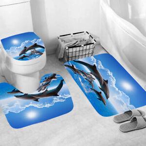 Dolphin Bathroom Rug Set Shower Curtain Thick Non Slip Toilet Lid Cover Bath Mat