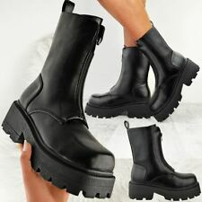 Womens Chunky Zip Front Ankle Boots Black Punk Rock Goth Winter Fashion Shoes