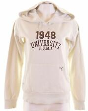 PUMA Womens Hoodie Jumper UK 14 Large White Cotton  EM22