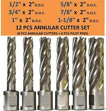 "6 pcs HSS Annular Cutter Broach Set, 2""DOC, 3/4"" Shank Magnetic Drill Set W/PIN"