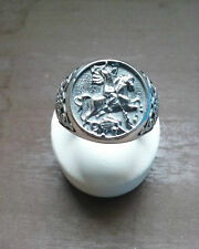 ST. GEORGE DRAGON TEMPLAR SILVER RING MEN