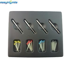 1 Pack Easyinsmile Dental Quartz Glass Screw/Straight Pile Fiber Post& 4 Drills