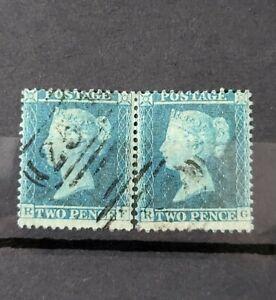 GB QUEEN VICTORIA SG 34 2D BLUE X PAIR FINE USED