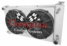 "1967-1972 Chevy C10 C20 Suburban CHAMPION 3 Row Radiator With Shroud & 14"" Fans"