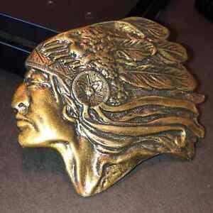 Vintage VTG Native American Indian Chief Brass Tone Belt Buckle
