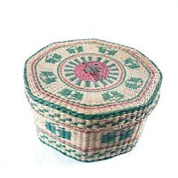 Small Weave Octagon 8 Sided Green Red Brown Basket With Lid Vintage