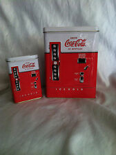 2 COCA-COLA COKE VENDING MACHINE TIN CONTAINERS SOFT DRINK COLLECTIBLE 1996/97