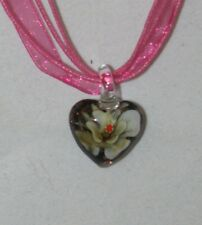 Art Glass Pendant Necklace SMALL FLOWER HEART Handmade Lampwork  Made in USA