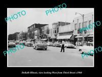 OLD POSTCARD SIZE PHOTO DEKALB ILLINOIS, THE MAIN STREET & STORES c1960