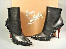 Louboutin 37 Willetta Black Leather Point Toe Spikes Ankle BOOTS BOOTIES