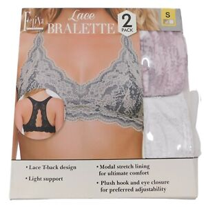 Felina Women's Small Bralettes 2-Pack White and Pink Lace T-Back Light Support