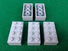 LEGO (3001) 2x4 - GRIGIO CHIARO HELLGRAU GRAU , 5 Mattoncini Brick Basic Steine