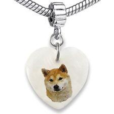 Shiba Inu Dog Heart Dangle Mother Of Pearl European Bracelet Charm Bead EBS4