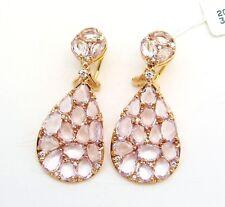 18K ROSE GOLD GENUINE DIAMOND & PINK  QUARTZ DROP EARRINGS