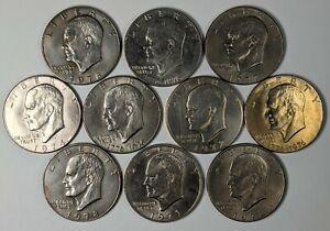 Lot of 10 Eisenhower Dollars Mixed Dates 187442R