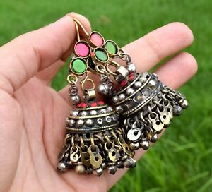 Vintage Big Kuchi Afghan Earrings Tribal Ethnic Dance Antique Silver Chandelier