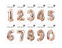 🔥 Rose Gold 32 cm Foil Number Balloon Air Birthday Age Party Wedding FREE PP