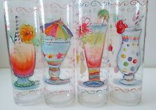 Tropical Drink,High Ball Glasses,NON-BREAKABLE, Lot of 4, Cute,Pretty,Girly,FUN,