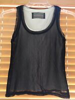 REFORMATION Womens XS Black Ivory Mesh Tank Top Undershirt Attached Sold Out
