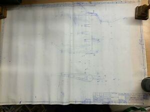 VINTAGE HUGE BLUEPRINT BASE FRAME FABRICATION FOR PANTOGRAPH 59.5cm x 84.5cm