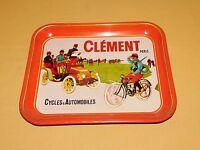 """VINTAGE 13"""" X 10 1/2"""" CLEMENT PARIS CYCLES & AUTOMOBILES METAL SERVING TRAY"""