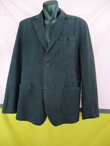 DEBENHAMS Mens Sports Jacket Large RED HERRING COTTON Long Slv Black Check 6375