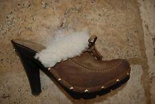 Dark Brown Suede Sheepskin Lined & Trimmed MICHAEL KORS Backless Heels 5.5 M