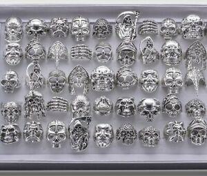 Wholesale 25pcs Lots Gothic Punk Skull Antique Silver Rings Mixed Style Jewelry