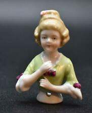 Rare German Porcelain Half Doll Arms Away Pincushion Arms Forward
