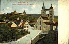 ESSLINGEN am Neckar ~1900 Litho-AK Prägekarte Strasse a.d. Agnes-Brücke mit Burg