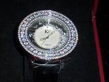KC Watch with CZ's, Clear Crystals and black leather band - NEW in Box