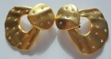 Large Gold Tone Rhinestone Haute Couture Runway Earrings Clip On