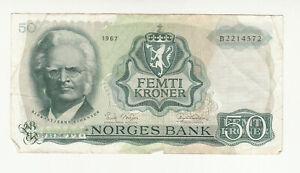 Norway 50 kroner 1967 circ. @ low start