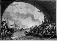 1666 GREAT FIRE LONDON BRIDGE SAINT PAUL CATHEDRAL, Old 1860 Art Print Engraving