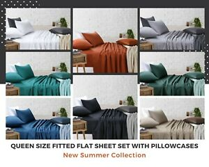 Fitted Sheet Queen Flat Sheet Sets Pillowcases White Black Blue Grey Rust Green