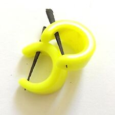 Cuff Earrings With Wooden Spike Neon Bright Yellow Dayglo Spikey Punky