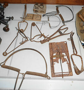 11 Antique FRENCH Animal Trap  OLD IRON TRAP
