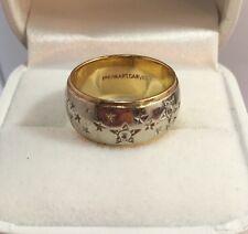 Vintage 14k Yellow White Gold Diamond Cut Star Wedding 8M Estate Band Ring 6 3/4