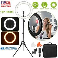 """18"""" inch Outer LED Ring Light Kit 55W Dimmable 3200K-5600K w/ Tripod Stand & Bag"""