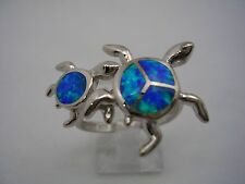 TURTLE WITH BABY RING WITH OPALS SET IN STERLING SILVER COMES IN ALL SIZES