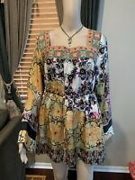 EUC!Johnny Was Women's 100% Silk Tunic Multicolored Embroidered Long Sleeve Sz M