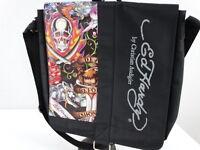 Ed Hardy by Christian Audigier Messenger Bag Backpack Laptop Black Skulls NWOT